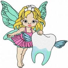Tooth fairy embroidery design 4. Machine embroidery design. www.embroideres.com
