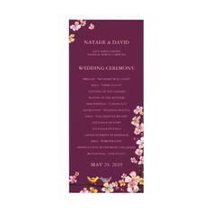 Sangria Love Birds Floral Wedding Program (4x9.25) Invites by Bridal Heaven