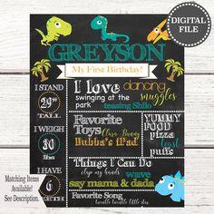 Milestone Poster | Dinosaur Birthday Invitation | Boy Birthday Invitation | First Birthday Invitation | First Birthday Boy | Milestone Dino by CKGdesignsStudio on Etsy