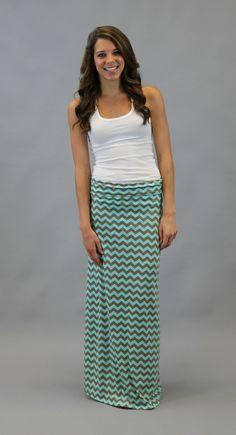Chevron Maxi Skirt - Turquoise