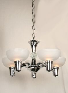 Art Deco Chandelier With Chrome and Glass Shades, c. 1930. #Vintage #Lighting www.myrlg.com