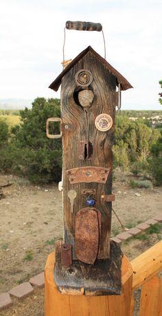 Rustic Birdhouse-Primitive-Barnwood-Old Rusty Metal-Unique-Recycled via Etsy.