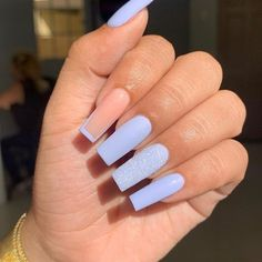 76 Charming Acrylic Nails for Long Nails and Short Nails - The First-Hand Fashion News for Females Acrylic Nails Coffin Short, Blue Acrylic Nails, Simple Acrylic Nails, Long Square Acrylic Nails, Long Square Nails, Acrylic Colors, Acrylic Nails For Summer, French Acrylic Nails, Clear Acrylic