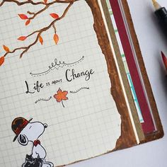 Close up: life is about change  #midoritravelersnotebook  #snoopy #autumn #life #quotestoliveby  #quoteoftheday #tree #leaves #autumnleaves #midoritravelersnotebook #midori #art #journal #weekly #insert #fall #november #change #watercolor #peanuts #calligraphy #paint #journaling #love