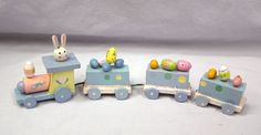 """Vintage Easter Rabbit Bunny Egg Wood Train Engine Cars 11"""" Spring Decoration by MermeowTreasures on Etsy"""