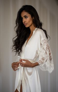 The Grace Bridal Robe by Daphne Newman featured on LOVE FIND CO You can find different rumors about the real … Lace Bridal Robe, Wedding Lingerie, Wedding Attire, Wedding Gowns, Bridal Robes Getting Ready, Bridal Nightwear, Bridesmaid Robes, Silk Charmeuse, Lace Sleeves