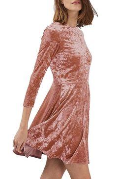 Topshop Crushed Velvet Dress pink quarter sleeve skater $60 | Nordstrom