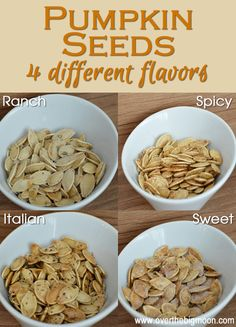 Today I am sharing with you how to cook pumpkin seeds, plus sharing with you 4 different flavors!  My husband LOVES Pumpkin Seeds and Pine Nuts in the Fall!  We started dating at the begi...