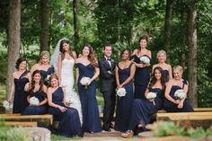 These long navy-blue bridesmaids dresses are absolutely gorgeous!! // Photo by Jennie Andrews  #bridesmaidsdresses #bridesmaids #wedding #castletonfarms #weddingideas
