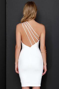 Making Me Blush One Shoulder Ivory Dress at Lulus.com!