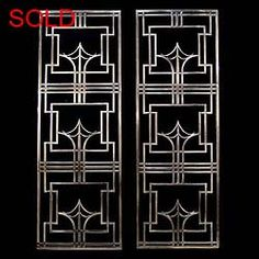 Art Deco Patterns | Antique pair English Art Deco stainless grills with Geometric pattern,