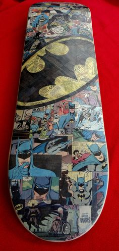 Batman Logo Skateboard Deck by Mike Alcantara This is a great design that instantly catches your eye when you look at it. Montages and comic book blocks are both great ways to show the dedication it took to create this board.