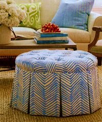 skirted ottoman - not in this fabric if we do chocolate zig zag pillows on couch, but I like the idea of skirted as all of the other furniture  has exposed legs.  Thoughts?