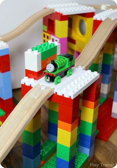 Dreamup Toys - building toys that connect wooden train tracks to interlocking building blocks (i. Thomas the train tracks & Lego DUPLO) Toddler Fun, Toddler Activities, Activities For Kids, Crafts For Kids, Legos, Lego Creations, Building Toys, Wooden Building Blocks, Kids Playing