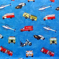 Our Heros Vehicles for Police, Firefighters  Paramedic fabric available to make a FABRIC CORK BULLETIN BOARD.  A perfect gift for one of our finest at www.PushPinsAndFabriccorkboards.com in subcategory OCCUPATIONS. Four board sizes, message ribbons, decorative push pins, OR, YOUR choice of over 1000 fabrics, or YOUR fabric; four standard sizes or custom size; with or without message ribbons. #fabriccorkbulletinboards #decorativepushpins #fabricwallart