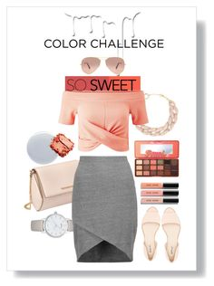 """""""Color Challenge:Peach&Gray"""" by potatostyle04 ❤ liked on Polyvore featuring DIANA BROUSSARD, Kate Spade, Givenchy, Miss Selfridge, Splendid, Qupid, Too Faced Cosmetics, Nivea, Bobbi Brown Cosmetics and Ray-Ban"""