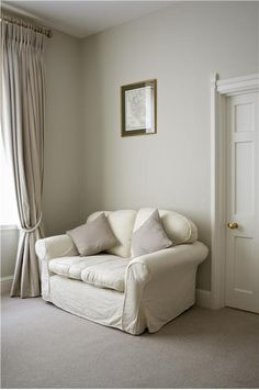 An inspirational image from Farrow and Ball Lounge with walls in Old White Estate Emulsion and ceiling in All White.