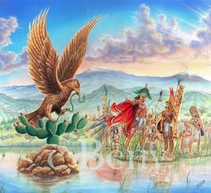 Tenochtitlan by ~JCSnoop on deviantART Mexican Artwork, Mexican Paintings, Mexican Folk Art, Aztec Drawing, Chicano Art Tattoos, Colombian Art, Aztec Empire, Aztec Culture, Mexican Heritage