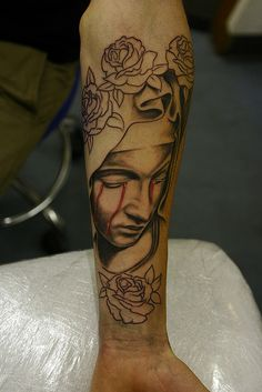 I would add color to the roses but love the virgin mary crying