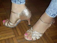 Nuevas MUJERES DE Brillo Oro Latino Salsa Baile Zapatos Tacones Talla 5-10