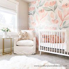 Floral Wallpaper, Nursery wallpaper, Removable wallpaper, Peel and Stick Wallpaper, Kids Wallpaper,