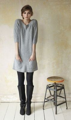 Grey knitted tunic & black boots/leggings