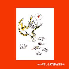 Postcard Cat n' Birds * Love * Illustration * A5 * Kids * Greeting Card…