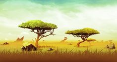 Relic Ball: African Savanna by ScottPellico on DeviantArt Illustration Jungle, Landscape Illustration, Children's Book Illustration, Cartoon Background, Animation Background, Art Background, 3d Wallpaper Lion, Sunset Wallpaper, Landscape Concept