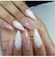 Pinkish/Nude gel Stilettos & glitter acrylics