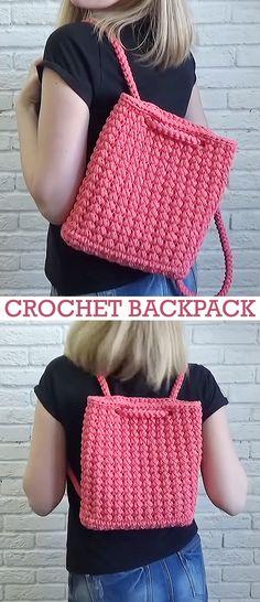 Crochet Backpack / Bag / Rucksack - Crochet, Knitting, Sewing & Crafting - Crochet Backpack / Bag / Rucksack Learn how to crochet this beautiful backpack. Filet Crochet, Crochet Stitches, Diy Crochet, Bag Sewing Pattern, Free Pattern, Crochet Backpack Pattern, Mochila Crochet, Crochet Purses, Crochet Bags