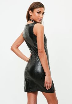 Missguided - Black Faux Leather Bodycon Dress