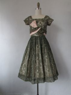 1950s blushing pink and olive green satin and lace party dress | vintage 50s party dress| small | The Alyssa Dress by VivianVintage8 on Etsy