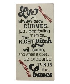 'Life Will Always Throw Us Curves' Wall Sign - baseball wall decor, sign Baseball Wall Decor, Baseball Signs, Baseball Crafts, Baseball Party, Baseball Bed, Sports Signs, Rustic Signs, Wooden Signs, Softball Quotes