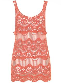FAMILY PICS - Coral sleeveless crochet tunic - View All Sale - Sale
