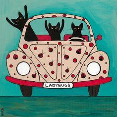 The Ladybugs Road Trip Whimsical Cat Folk Art by KilkennycatArt