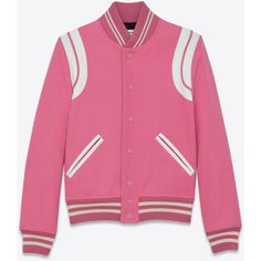Saint Laurent Teddy Jacket (€2.020) ❤ liked on Polyvore featuring outerwear, jackets, yves saint laurent jacket, varsity-style bomber jacket, 100 leather jacket, letterman jackets and varsity bomber jacket