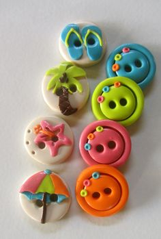 Beach Buttons Set of 8 by WildflwrButtonStudio on Etsy
