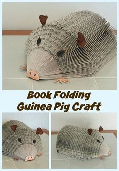 Book folding Guinea Pig Craft-Yet another animal to fold using the hedgehog fold Pig Crafts, Rock Crafts, Animal Crafts, Folded Book Art, Paper Book, Paper Art, Old Book Crafts, Book Page Crafts, Paper Folding Crafts