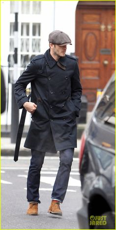 David Beckham dons a stylish trench coat while running errands on Monday (March 18) in London, England