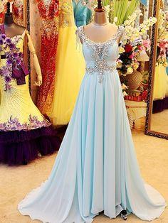 Real Image Luxurious Light Sky Blue V Neck Floor Length Open Back Beading Crystal Evening Dresses Prom Dresses Plus Size