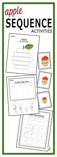 Looking for sequencing activities for the math center during your apple unit?  Try these engaging printables and sequencing cards.