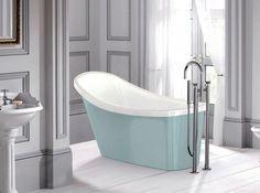 I like the egg blue bathtub with the grey walls. http://www.maison-deco.com