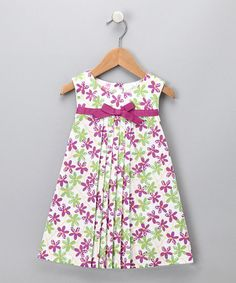 Purple & Green Floral Pleated Dress - #zulily - This dress looks very similar to one I made last fall. Love the pleats!