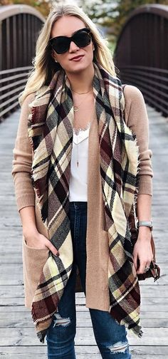 what to wear with a plaid scarf : white top + nude cardigsn + ripped jeans
