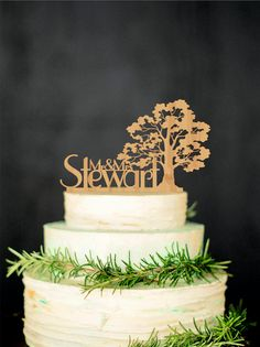 Tree Wedding Cake Topper by Wedding Rustic Deco - 20 Unique Wedding Cake Toppers - EverAfterGuide