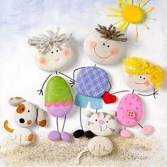Die süße Steinfamilie könnt ihr super zusammen basteln!