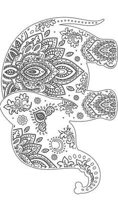 Elephant Coloring Page for Adults Lovely Elephant Adultcoloring Coloring Elephants ️ Coloring Book Pages, Printable Coloring Pages, Coloring Sheets, Elephant Colour, Elephant Art, Zentangle Elephant, Embroidery Patterns, Hand Embroidery, Mundo Hippie