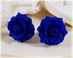 "cobalt blue rose stud earrings | a possible ""something blue"" for the wedding"