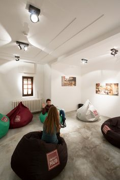 URED architecture studio has developed a new creative office design for Impact Hub in Belgrade, Serbia from through an adaptation and interior space Visual Merchandising, Red Architecture, Creative Office Space, Co Working, Coworking Space, Design Furniture, Office Interiors, Stores, Bean Bag Chair