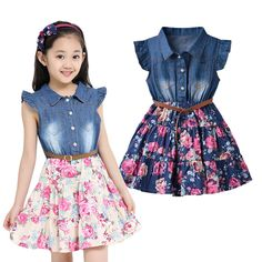 May 2020 - Clothes For Girls - Girls Summer Dresses Cotton Children Clothing Denim Baby Clothes Floral Short Sleeve Kids Clothes For Girls Princess Dress Baby Outfits, Summer Outfits, Cute Outfits, Summer Dresses, Summer Clothes, Dresses Kids Girl, Kids Outfits Girls, 4 Year Girl Dress, Kids Girls